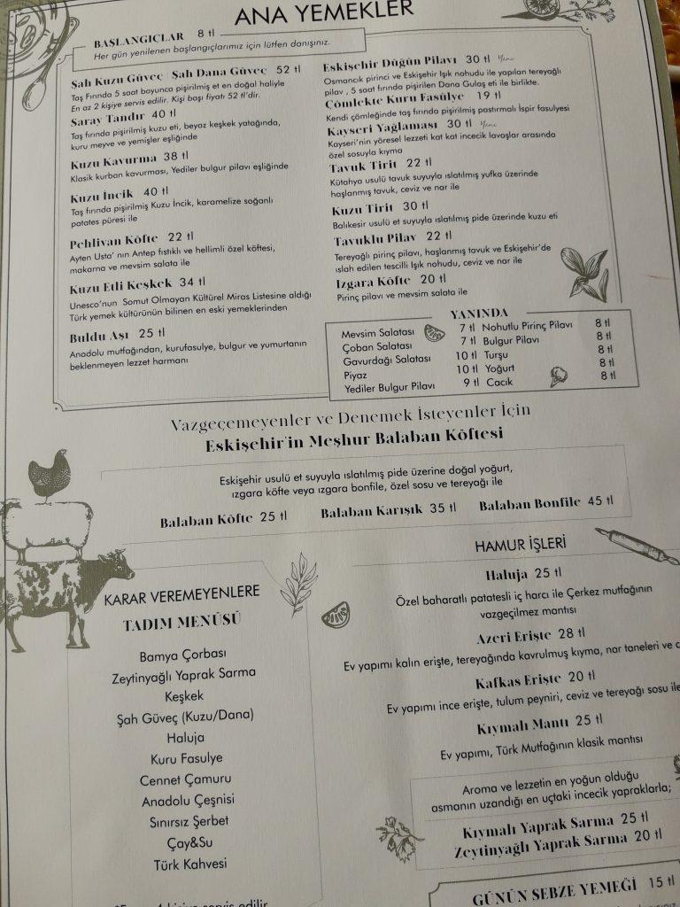 eskişehir ayten usta menü fiyatları